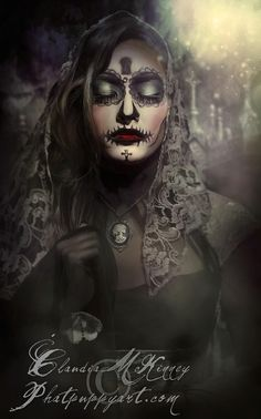 Dia de los Muertos by Phatpuppy Art Day Of The Dead Mask, Day Of The Dead Girl, Day Of The Dead Skull, Sugar Skull Girl, Sugar Skulls, Candy Skulls, Lowrider Art, Beautiful Dark Art, Skull Artwork