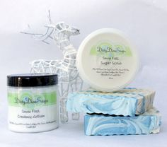 Gift Set in Snow Fall, Spicy Wintery Blend with Shea Butter Soap, Sugar Scrub and Creamy Lotion- Paraben Free and Vegan. $18.50, via Etsy.