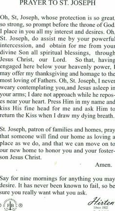 St joseph cupertino prayer card   Catholic prayers and Sacred heart