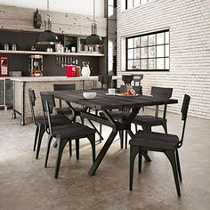 Carbon Loft Kettering Metal Chairs and Table Dining Set (Medium Dark Grey Wood / Brown Gun Metal Finish - Sets), Gray