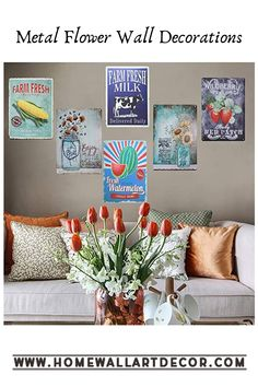 These floral metal wall decor signs make your home look rustic with a touch of vintage appeal Wall Decor Set, Flower Wall Decor, Wall Decorations, Garden Wall Art, Home Wall Art, Metal Wall Flowers, Interior Design Themes, Metal Sculpture Wall Art, Floral Wall