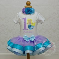 Mermaid First Birthday Outfit Girls by FourSweetHeartsTutus
