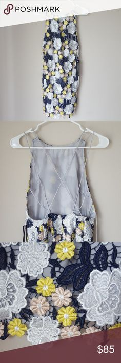 TOPSHOP lace overlay floral dress strappy back Perfect for a summer wedding☺ NWT US size 4 Topshop Dresses