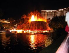 Volcano in front of the Mirage Hotel.