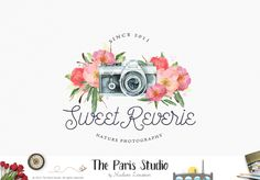 Floral Watercolor Camera Logo Design - photography logo, website logo, boutique…