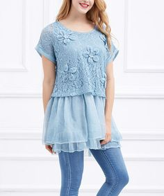 Love this Blue Floral-Accent Tiered Tunic on #zulily! #zulilyfinds