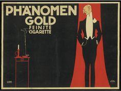 Julius Klinger (1876-1942), 1909, poster for cigarettes Phänomen Gold.