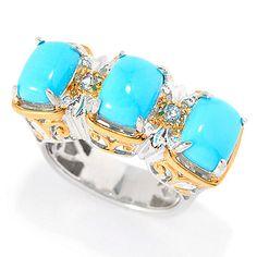 148-139- Gems en Vogue 8 x 6mm Sleeping Beauty Turquoise & Blue Topaz Three-Stone Ring