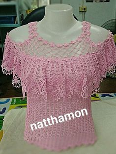 Blusas y top crochet - Salvabrani Gilet Crochet, Crochet Shirt, Crochet Motif, Crochet Designs, Crochet Lace, Crochet Patterns, Crochet Tops, Crochet Squares, Black Crochet Dress