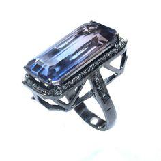 Emerald Cut Pink Blue Doublet Quartz with White Diamondlite Rings Beautiful Ring #AKGemsandJewels #Solitaire