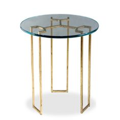 A stylish canvas for a vase of bright blooms or your favorite family photos, this glass-topped end table showcases a gold leaf-finished iron base and open si. Glass Side Tables, End Tables, Metal Tables, Coffee Tables, Table Furniture, Furniture Design, Furniture Ideas, Modern Table, Home Decor Inspiration