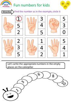 Fun numbers for kids - preschool Printable Preschool Worksheets, Kindergarten Math Worksheets, Worksheets For Kids, In Kindergarten, Activities For 5 Year Olds, Preschool Learning Activities, Preschool Activities, Numbers For Kids, Numbers Preschool