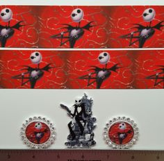 "2 Yards 1.5"" The Nightmare Before Christmas Inspired Grosgrain Ribbon and 3Resin"