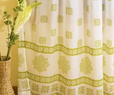 Decorative Unique Indian Sheer Curtain, Bohemian Olive Green Sheer Curtain