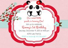 Pink Red Baby Panda Birthday Invitation & Tag by TheLovelyMemories, $15.00