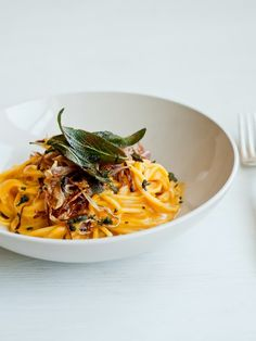 Cafe Johnsonia: Pumpkin Creme Fraiche Spaghetti with Fried Onions and Sage Leaves