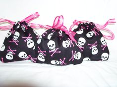 Halloween Bags - Jewelry, Trinkets, Candy, Change, Gift Cards - Black with White Skulls & Hot Pink Cross Bones with Hot Pink Ribbon $9.00  @LimeysTreasureChest  #etsyfollow #needlecraft #holidays #halloween #skull_and_crossbones #black_bags #hot_pink #hot_pink_ribbon #gift_bags #jewelry_bags #candy_bags #halloween_bags #bags #set_of_three #set_of_3 #trinket_bags #coin_purse #handmade #polyester_ribbon #polyester_thread #polyester_cotton_mix_fabric