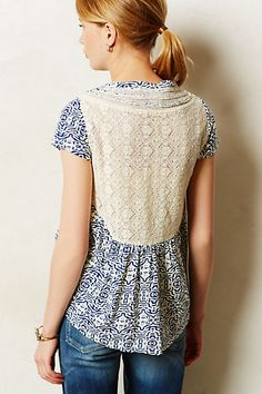 Lace trim top- Great mix of fabrics