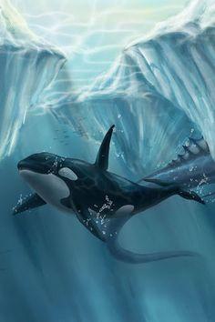 Whimsical orca art