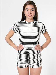 5eeb4520633 AMERICAN APPAREL Printed T-Shirt Romper SIZE SMALL in NATURAL BLACK PABLO  STRIPE Striped Jumpsuit