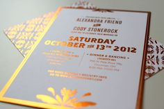 our wedding invites--copper foil stamped