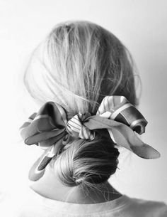 Silk scarf hair bow.