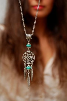 Emerald feather pendant, silver dream catcher necklace, hippie boho necklace, flower festival jewelry, birthday gift, round circle pendant. by Estibela on Etsy https://www.etsy.com/listing/252512846/emerald-feather-pendant-silver-dream
