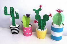 Gallery of cactus de papel missdiy - how to do paper mache Cactus Craft, Cactus Decor, Cactus Centerpiece, Diy For Kids, Crafts For Kids, Papier Diy, Diy Y Manualidades, Paper Plants, Diy Painting