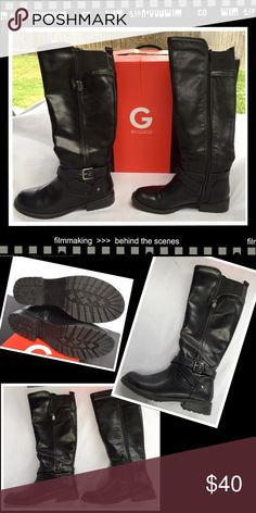 """👁🗨Black Boots G by Guess👁🗨 Boots in EUC have only been worn a few times. They have a functional zipper on one side and a decorative zipper on the other. They have double straps at the ankle with buckle detail. The calf opening is approximately 15"""" with elastic at the top in the back to accommodate larger calves. G by Guess Shoes"""