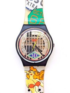"""New in Box SWATCH Gent """"Big Enuff"""" GB151 Sexy Collage Old City Swiss Watch 1993 #Swatch #Casual"""