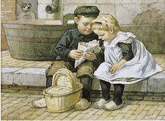 Ot en Sien, by dutch illustrator Cornelis Jetses Vintage Pictures, Vintage Images, Vintage Postcards, Vintage Cards, Round Robin, Dutch Netherlands, Amsterdam Holland, Dutch Artists, Vintage Children
