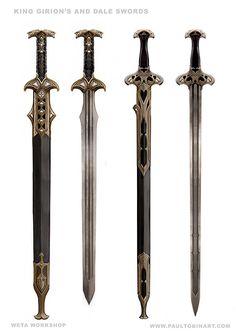 Concept Design for The Hobbit - Battle of Five Armies - Weta Workshop Fantasy Sword, Fantasy Weapons, Fantasy Rpg, Medieval Fantasy, Swords And Daggers, Knives And Swords, Cool Swords, Sword Design, Medieval Weapons