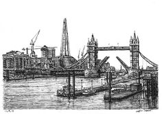 View of the Shard and Tower Bridge - drawings and paintings by Stephen Wiltshire MBE