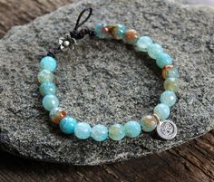 Silver and Blue Agate Yoga Bracelet