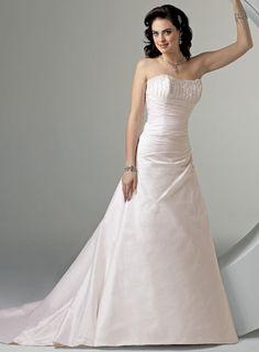 A-line Strapless Chapel Train Satin Wedding Dresses