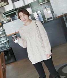 Oversized Knit Sweater with Cable Knit Panels