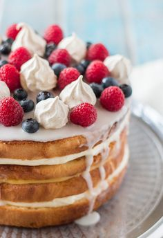 Cream & Lemon Curd Layered Sponge with Berries & Meringue by raspberri cupcakes, via Flickr