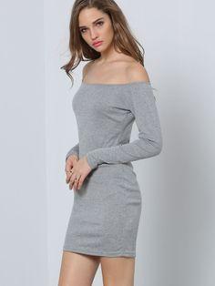 Grey Long Sleeve Off The Shoulder Dress