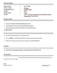 Resume Format For Freshers B Tech Ece Free Download