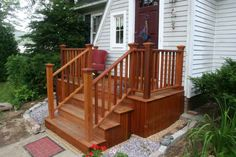 wood deck step plans | The new combined stairs and deck fit with and enhance the design of ...