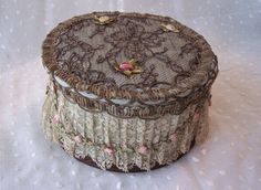 Fine Metallic Lace and Ribbon Trim French Powder Box with Mirror and Glass Insert
