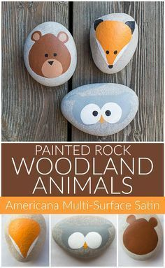 Woodland Animal Painted Rocks - Project by DecoArt Create cute animal rocks with your little ones using Multi-Surface paint! Woodland Animal Painted Rocks - Project by DecoArt Create cute animal rocks with your little ones using Multi-Surface paint! Rock Painting Patterns, Rock Painting Ideas Easy, Rock Painting Designs, Rock Painting For Kids, Ladybug Rock Painting, Art Patterns, Pretty Patterns, Pebble Painting, Pebble Art