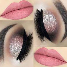Soft Pink Lips + Champagne Glitter Eyes