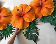 Hibiscus Bush, Hibiscus Flowers, Orange Flowers, Tropical Flowers, Paper Flower Wall, Flower Wall Decor, Flower Decorations, Hawaiian Decor, Hawaiian Flowers