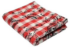 Red & white french-motif fabric