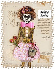 Happy Spring a paper doll by Catherine Moore working with Character Constructions art stamps.