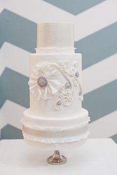 we ❤ this!  moncheribridals.com   #weddingcake #whiteweddingcake