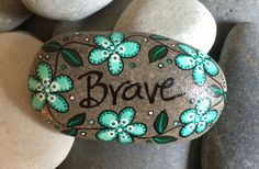 Happy Rock Brave Hand-Painted River Rock Stone aqua