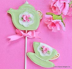 Shabby Chic Tea Set Cookies: Frosted in buttercream flavored royal icing. Perfect for a children's tea party.