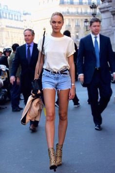 Model street style | Croco booties, denim shorts and simple tee Candice Swanepoel